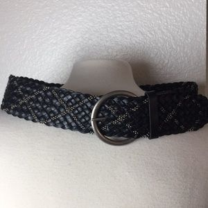 Women's Braided Leather Belt Size M Black/Silver